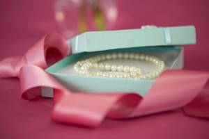 Gift box with pearls.